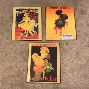 Set of three French poster wall hangings